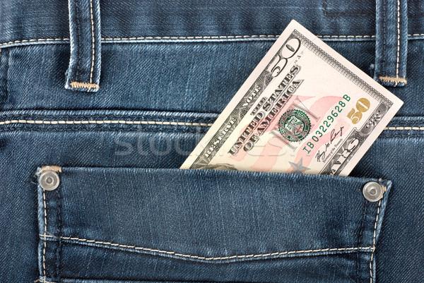 ötven dollár zseb jegyzet hát farmer Stock fotó © Givaga