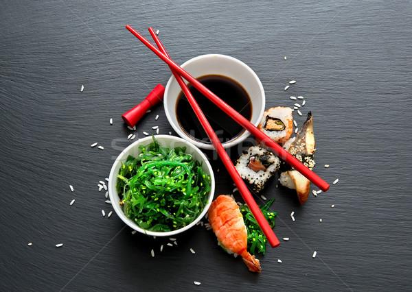 Hínár saláta szusi étel asztal piros Stock fotó © Givaga