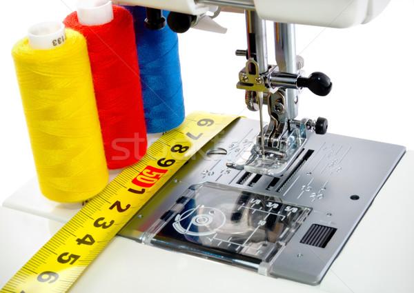 Maszyny do szycia mechanizm biały niebieski czerwony maszyny Zdjęcia stock © Givaga