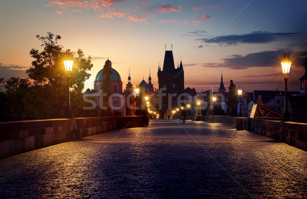 Brug Praag dawn Tsjechische Republiek hemel huis Stockfoto © Givaga