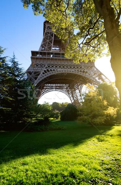 Eyfel Kulesi ağaçlar muhteşem Paris manzara gökyüzü Stok fotoğraf © Givaga