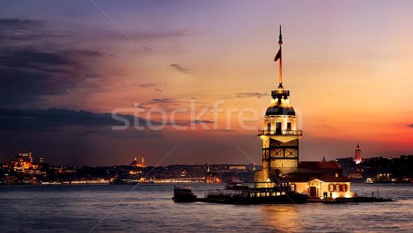Hajadon torony naplemente megvilágított Isztambul felhők Stock fotó © Givaga
