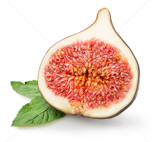 Sliced figs with green leaf Stock photo © Givaga