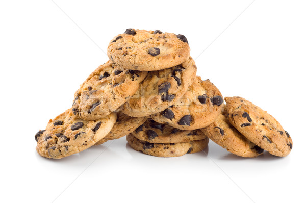 Stack of chocolate chip cookies isolated Stock photo © Givaga