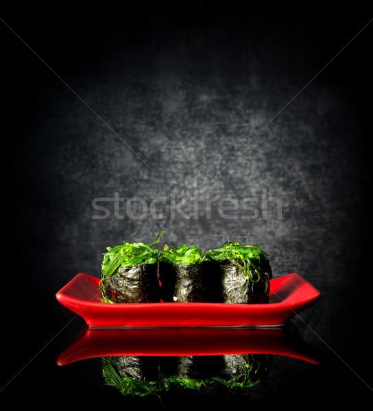 Picante sushi placa rojo negro fondo Foto stock © Givaga