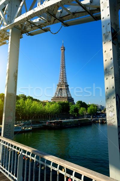 Paris ver Torre Eiffel França água cidade Foto stock © Givaga