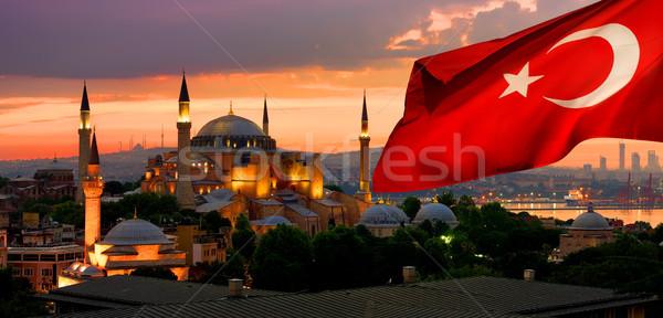 Flag and Ayasofya in Istanbul Stock photo © Givaga