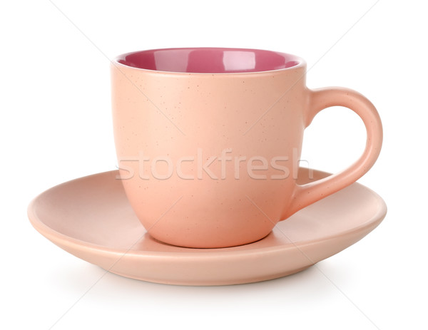Rózsaszín csésze csészealj izolált fehér tea Stock fotó © Givaga