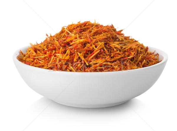 Zafferano piatto isolato bianco alimentare Spice Foto d'archivio © Givaga