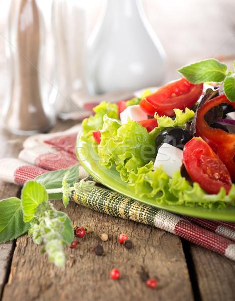 野菜 サラダ フェタチーズ ミント 朝食 トマト ストックフォト © Givaga