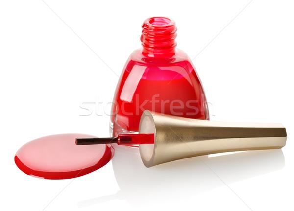 Vermelho unha polonês escove isolado branco garrafa Foto stock © Givaga
