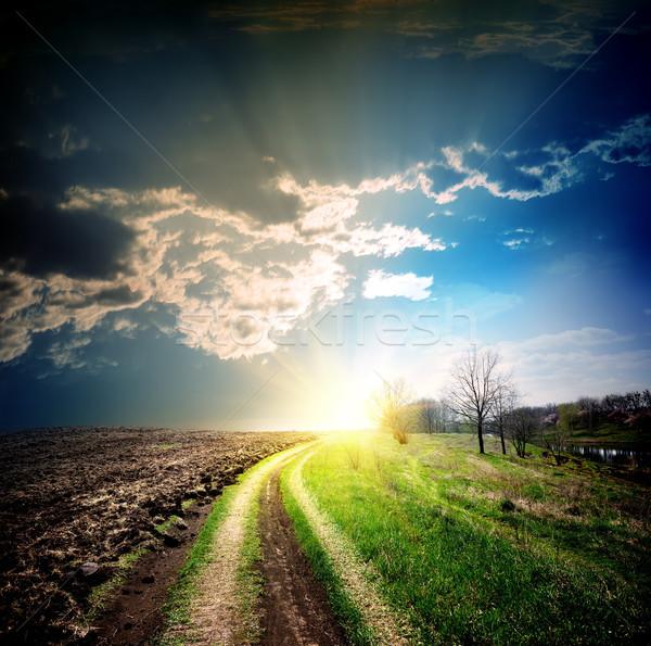 Vidéki út távolság fa fű út nap Stock fotó © Givaga