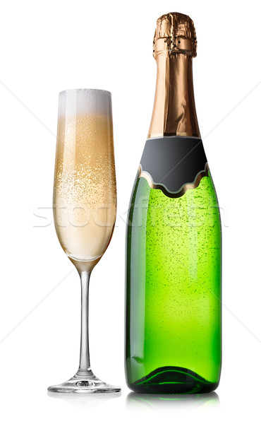 Bottle and glass of champagne Stock photo © Givaga