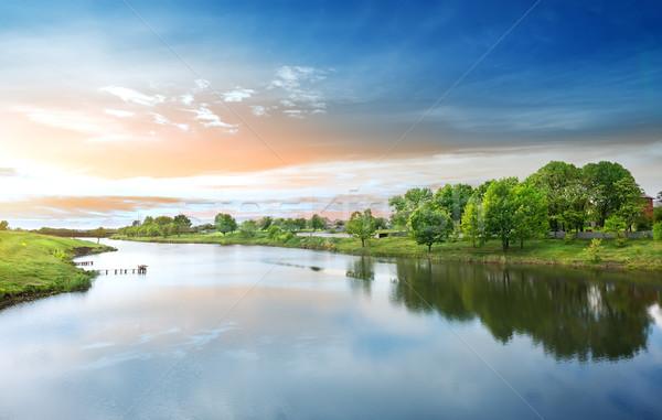 рассвета реке весны солнце закат лет Сток-фото © Givaga