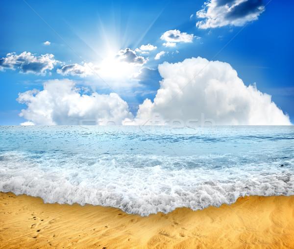 Deniz dalga köpüklü güneş ışığı gökyüzü Stok fotoğraf © Givaga