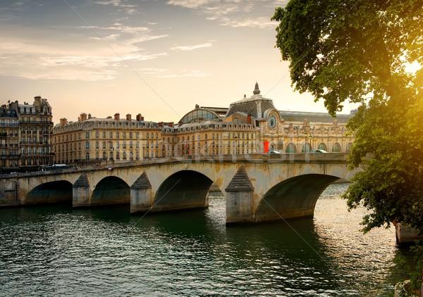 Zdjęcia stock: Most · Paryż · słoneczny · wieczór · Francja · niebo