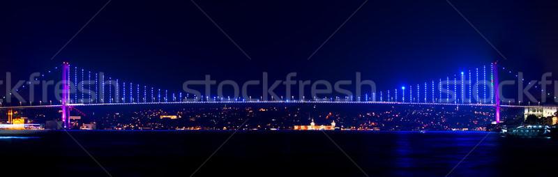 Megvilágított híd Isztambul éjszaka város városi Stock fotó © Givaga