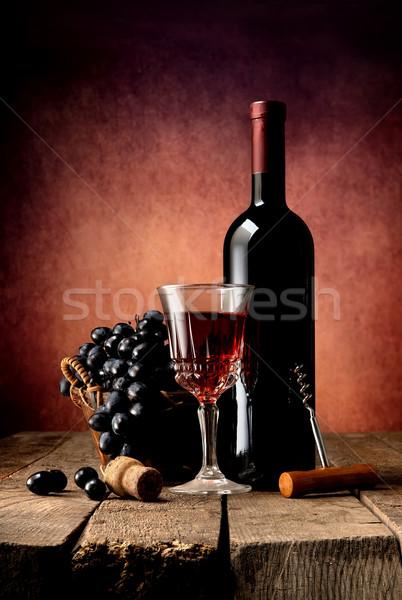 Foto stock: Brilhante · vinho · uva · mesa · de · madeira · festa · fruto