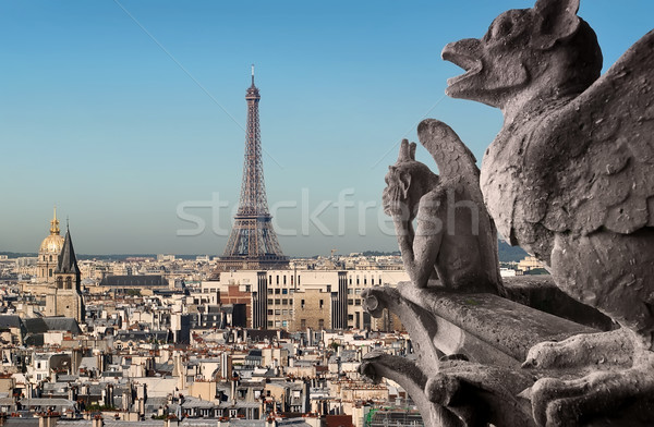 Tour Eiffel regarder Paris France ciel ville Photo stock © Givaga
