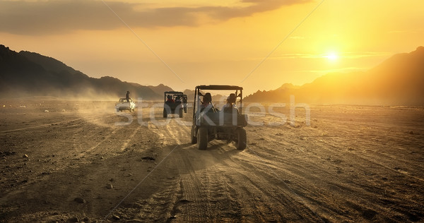 Buggy riding in desert Stock photo © Givaga