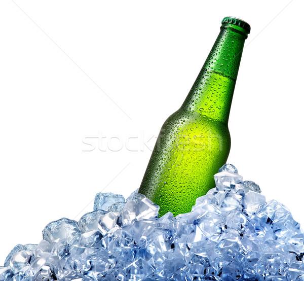 Bierfles ijs groene geïsoleerd witte bar Stockfoto © Givaga