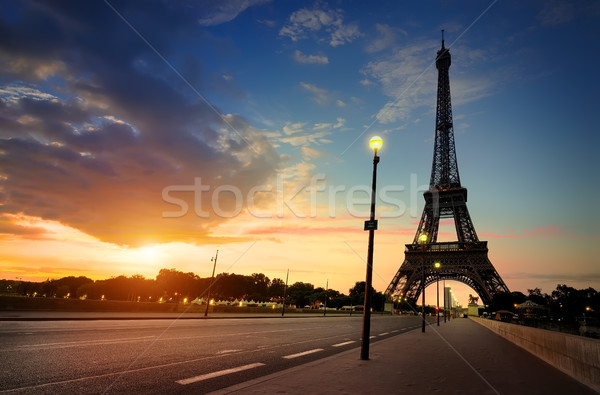 Cloudy sunrise in Paris Stock photo © Givaga