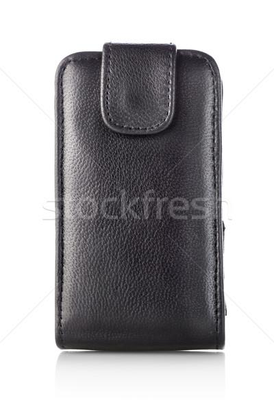 Nero caso mobile cellulare isolato bianco Foto d'archivio © Givaga