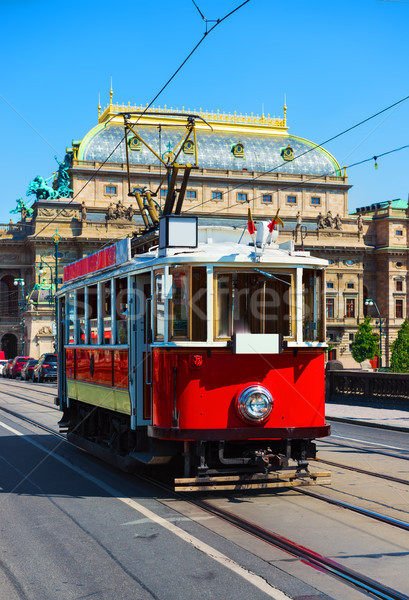 Red vintage tram Stock photo © Givaga