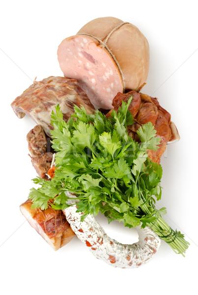 Cocido carne salchichas aislado blanco fondo Foto stock © Givaga