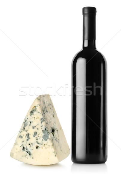 ボトル 赤ワイン ブルーチーズ 孤立した 白 ワイン ストックフォト © Givaga