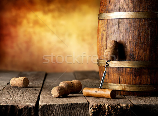 Baril vin tire-bouchon table en bois texture restaurant Photo stock © Givaga