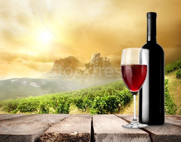 Vignoble vin vin rouge table nuages bois Photo stock © Givaga