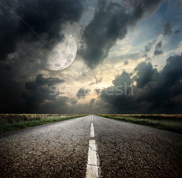 Autoroute lune image nuages printemps Photo stock © Givaga