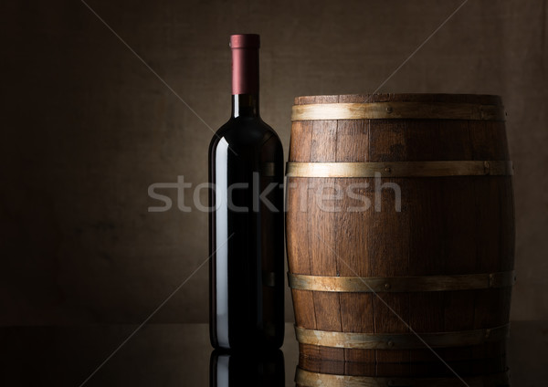 Bottle and a wooden barrel Stock photo © Givaga