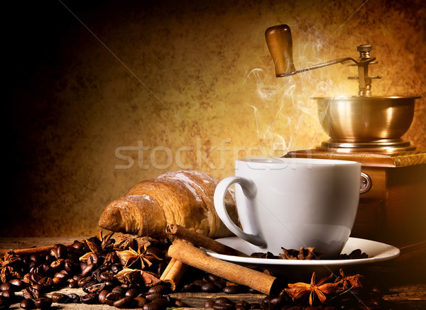 Coffee with fresh croissant Stock photo © Givaga