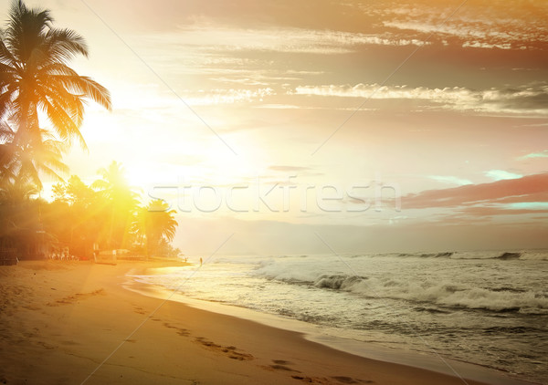 Pink sunset over ocean Stock photo © Givaga