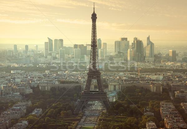 Légifelvétel Párizs Eiffel-torony kerület LA védelem Stock fotó © Givaga