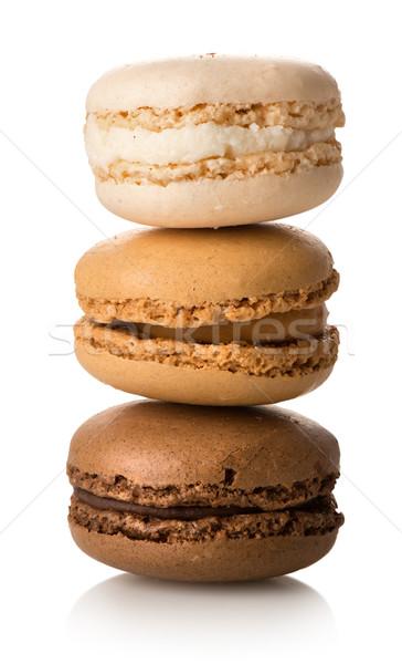 Macarons изолированный белый продовольствие клубника Сток-фото © Givaga