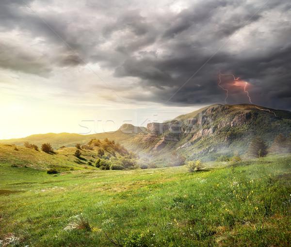 Foudre montagnes nuages d'orage ciel fleurs forêt Photo stock © Givaga