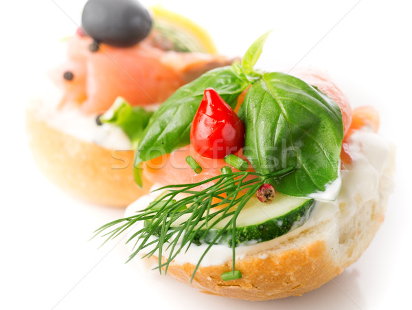 Sandwich with red fish Stock photo © Givaga