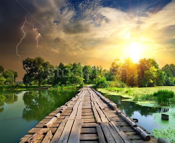 Молния моста реке дерево дороги Сток-фото © Givaga