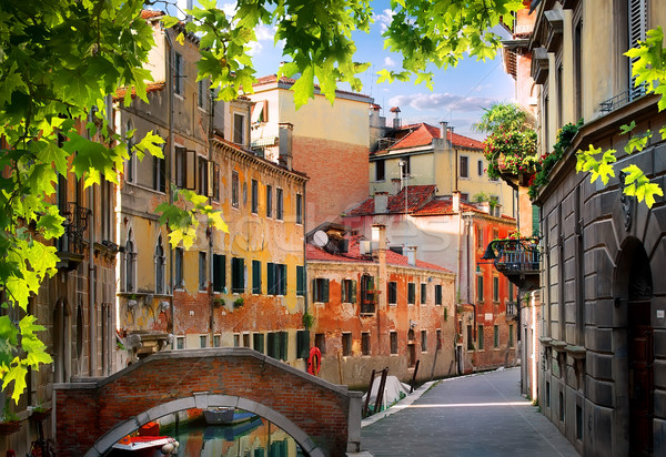 Vechi venetian case străzi dimineaţă Italia Imagine de stoc © Givaga
