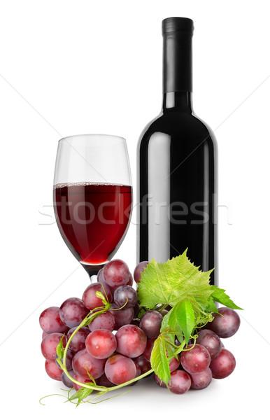 Fles rode wijn wijnglas druiven geïsoleerd witte Stockfoto © Givaga