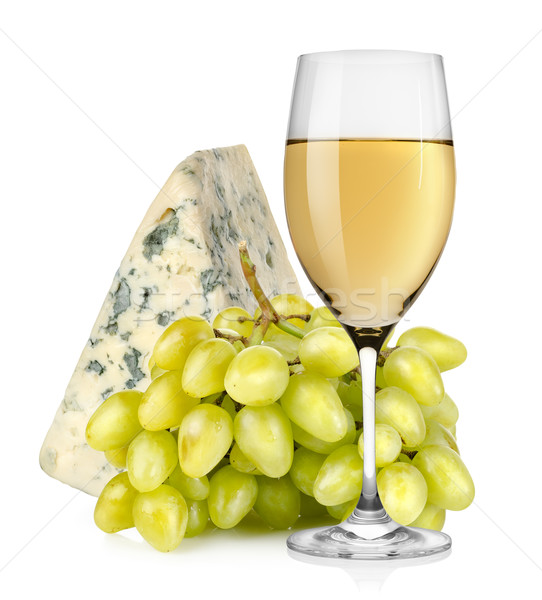 Wineglass cheese and grapes isolated Stock photo © Givaga
