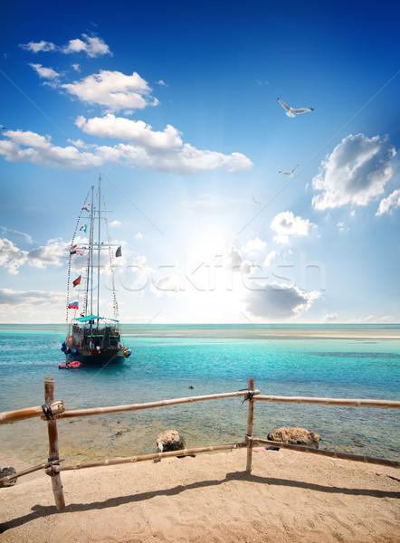 Sailboat near beach Stock photo © Givaga