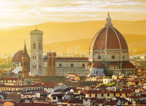 Kilátás Florence bazilika szent virág Olaszország Stock fotó © Givaga