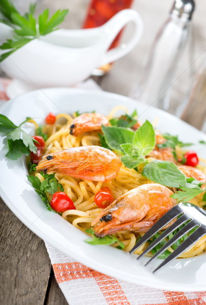 Seafood spaghetti with prawns Stock photo © Givaga