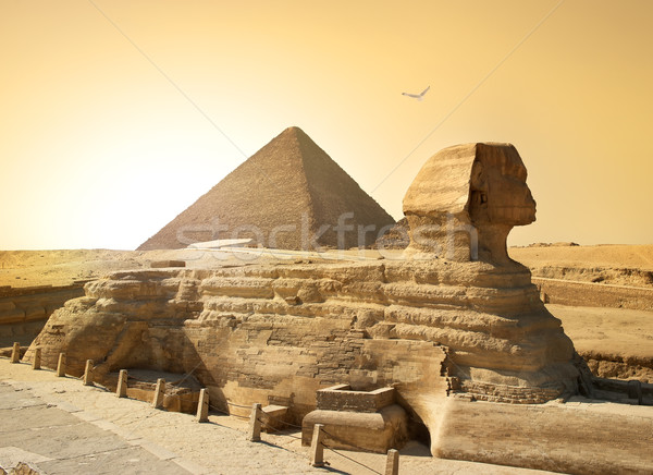 Stock photo: Sphinx and pyramid