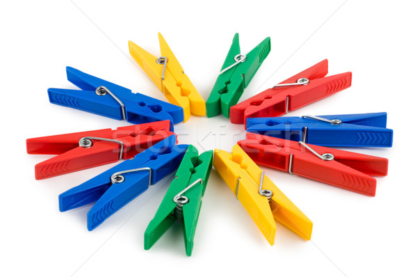 Colored clothespins isolated Stock photo © Givaga