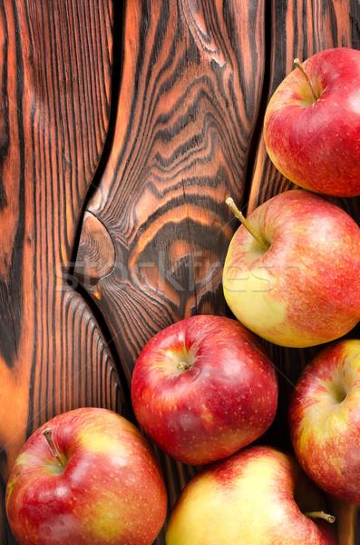 Stockfoto: Rood · appels · tabel · houten · voedsel · appel